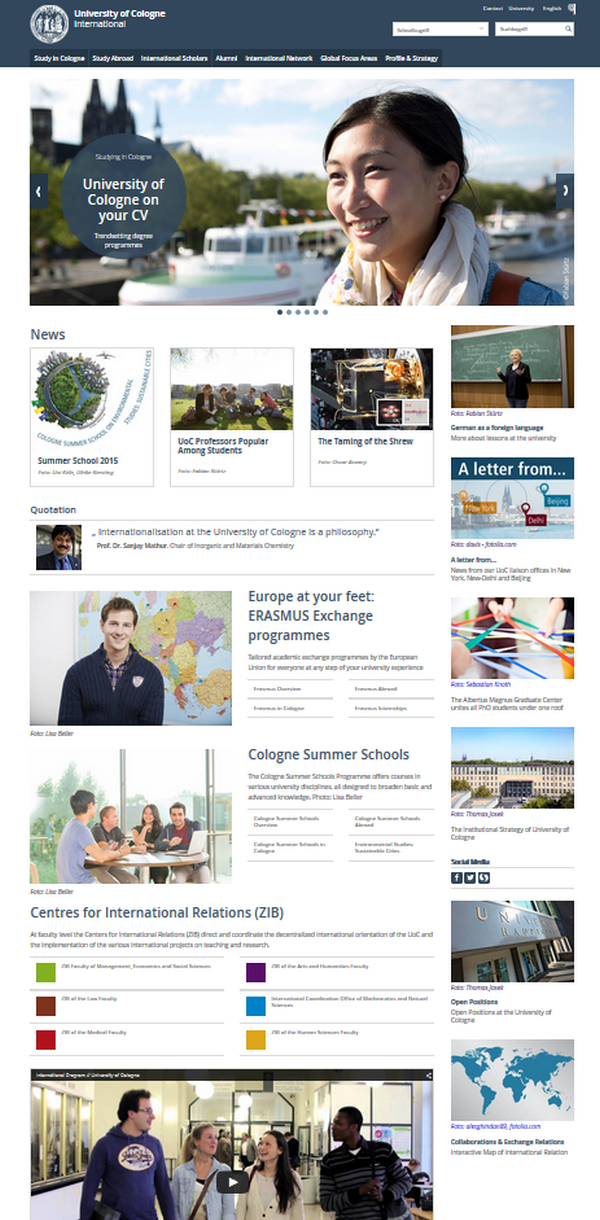 UoC International Homepage