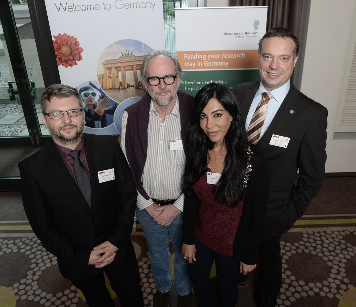 Prof. Dr. Paul Turnbull (2nd from the left) and Dr. Sima Sadeghi (2nd from the right) attended the conference as international researchers at the University of Cologne accompanied by Dr. Johannes Müller (on the right) and Frank Hasenstab (on the left) from Albert's Global Researcher Network. Photo: Alexander von Humboldt Foundation / Ausserhofer