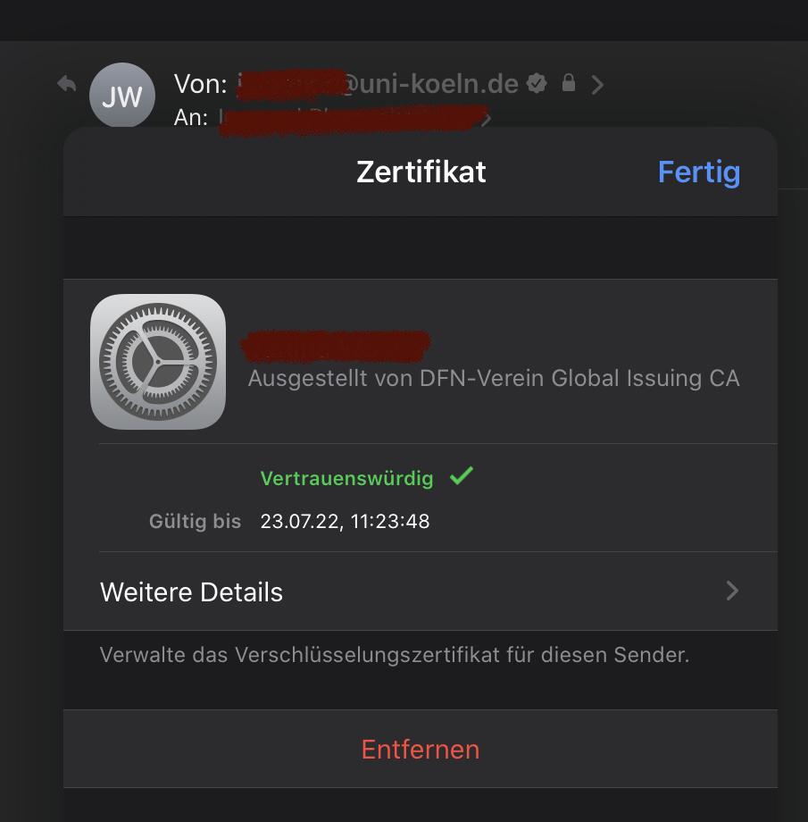 Bildschirmabbild, das die Details eines Mail-Zertifikats anzeigt