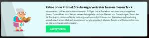 Cookie-Banner der Webseite thomann.de